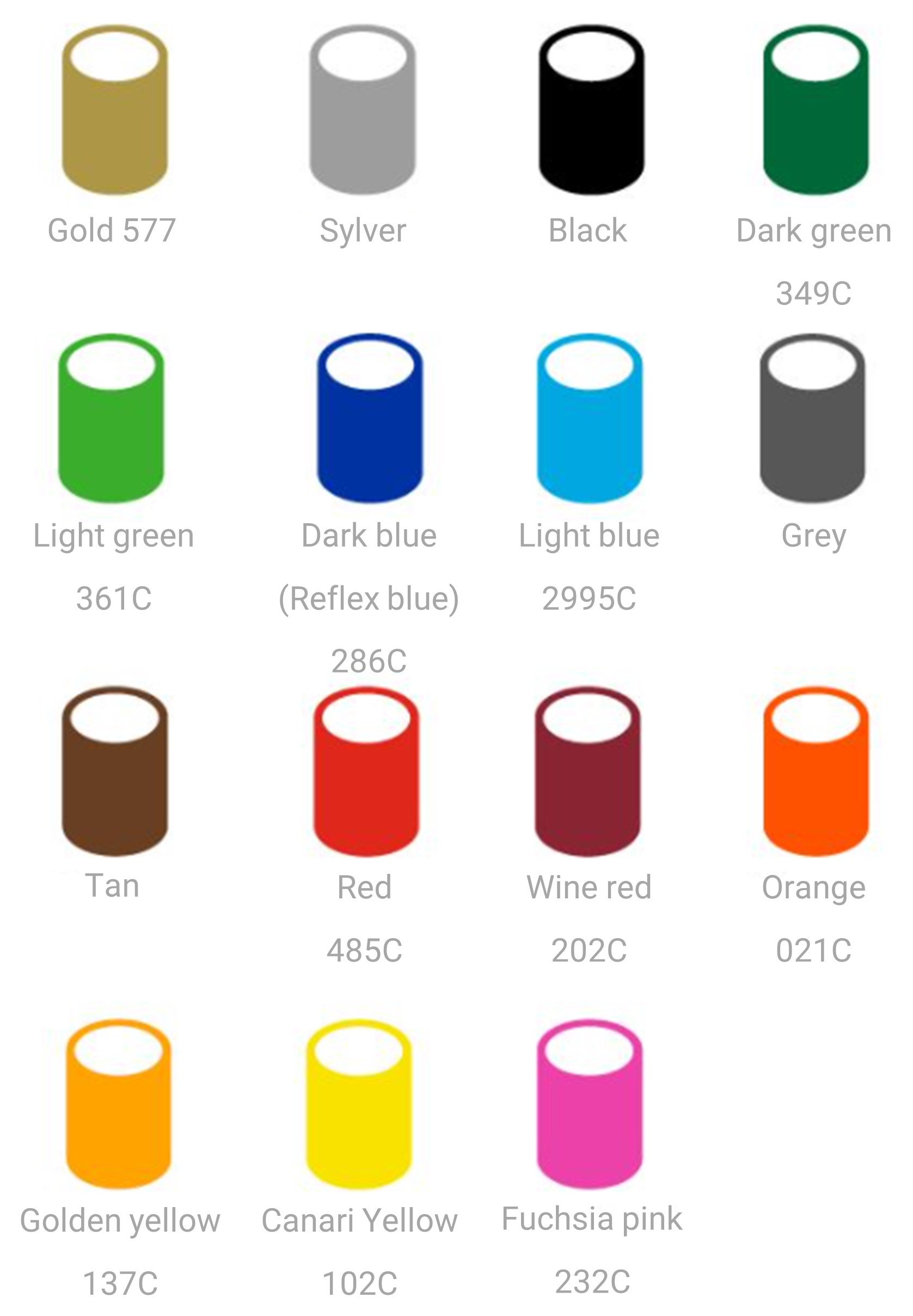 PLV masts color chart